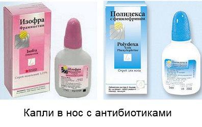 капли в нос от гайморита с антибиотиками